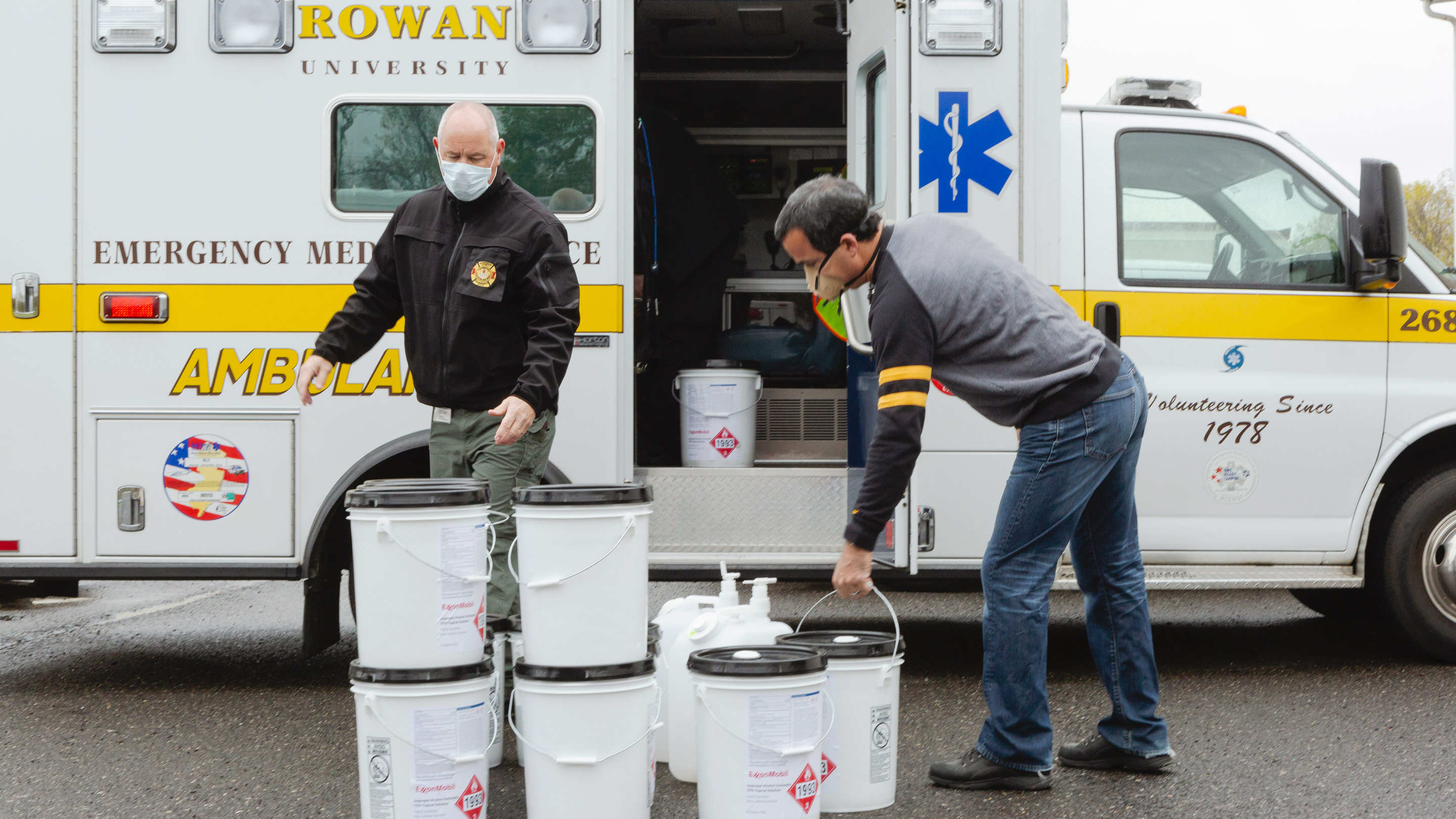 Rowan University Gloucester delivering sanitizer to frontline professionals