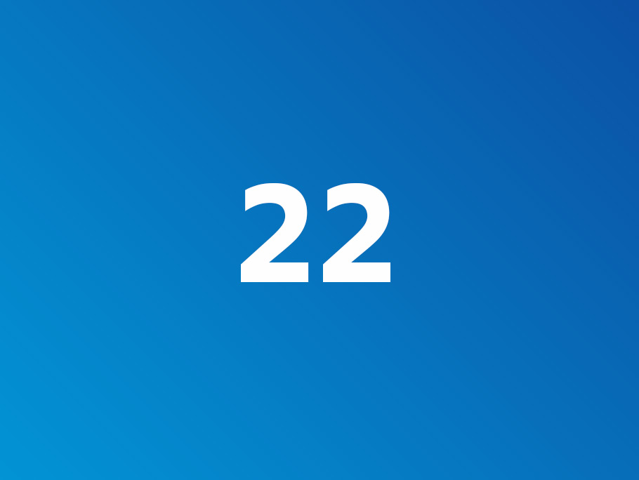 A graphic depicting 22