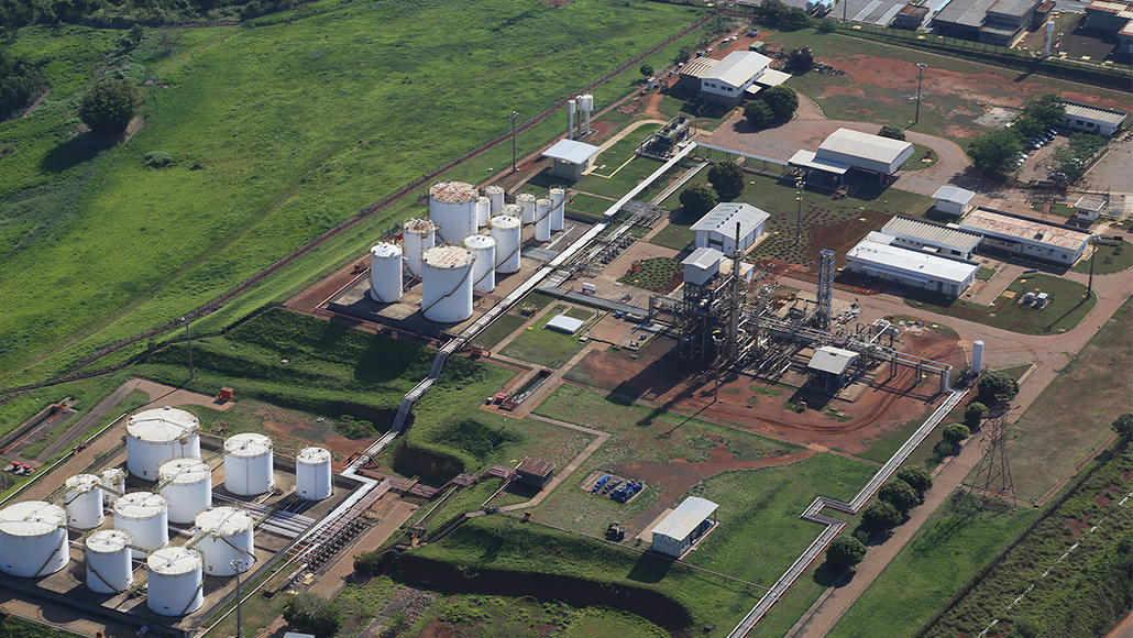 Aerial photo of  the Paulinia facility in Brazil.