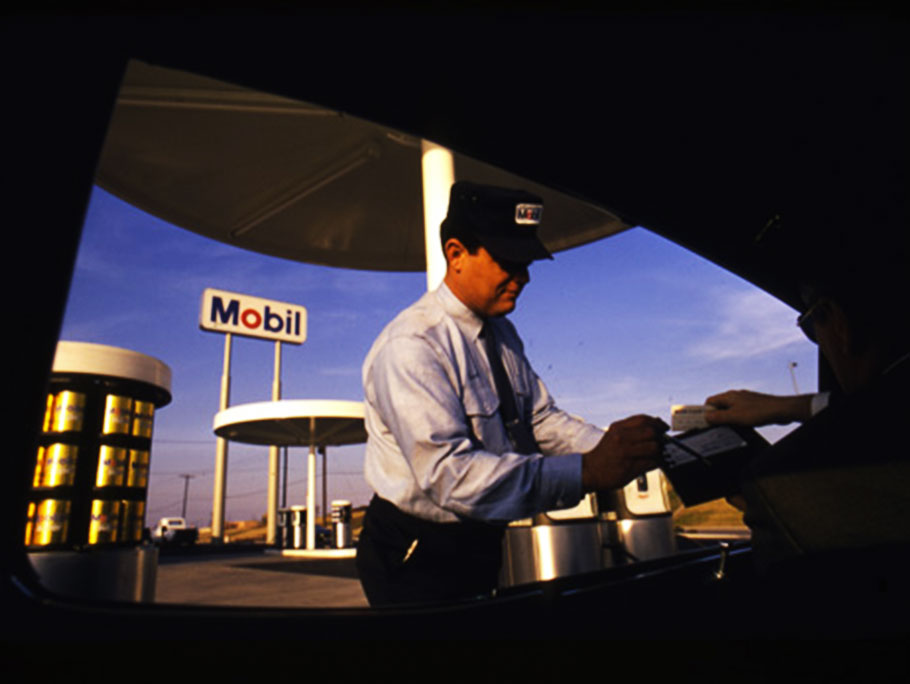 Mobil gas station worker