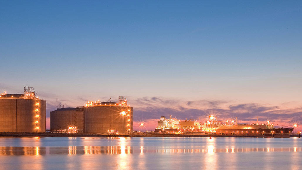 Golden Pass LNG Terminal at dusk