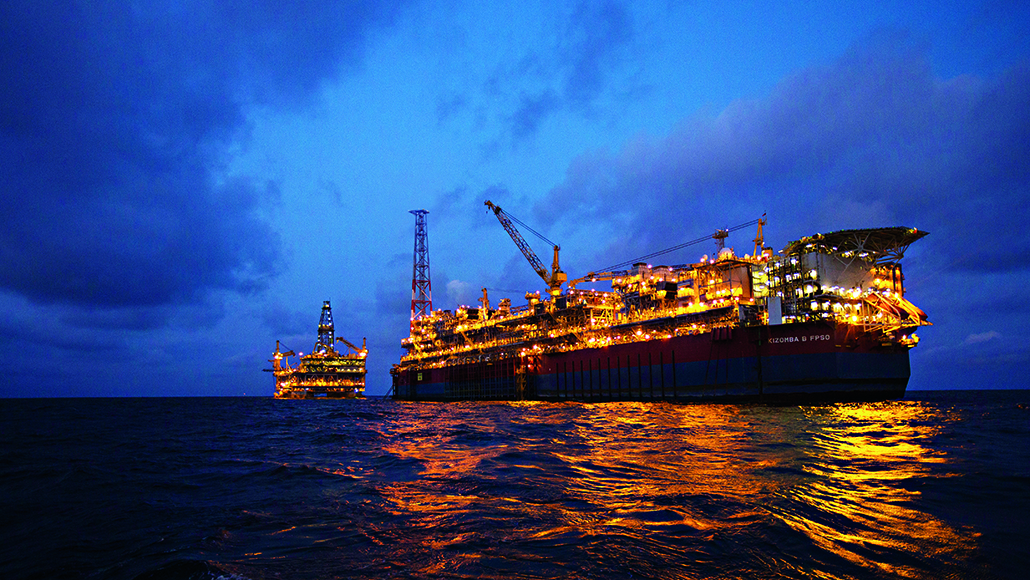 The Kizomba B FPSO and tension-leg platform at night