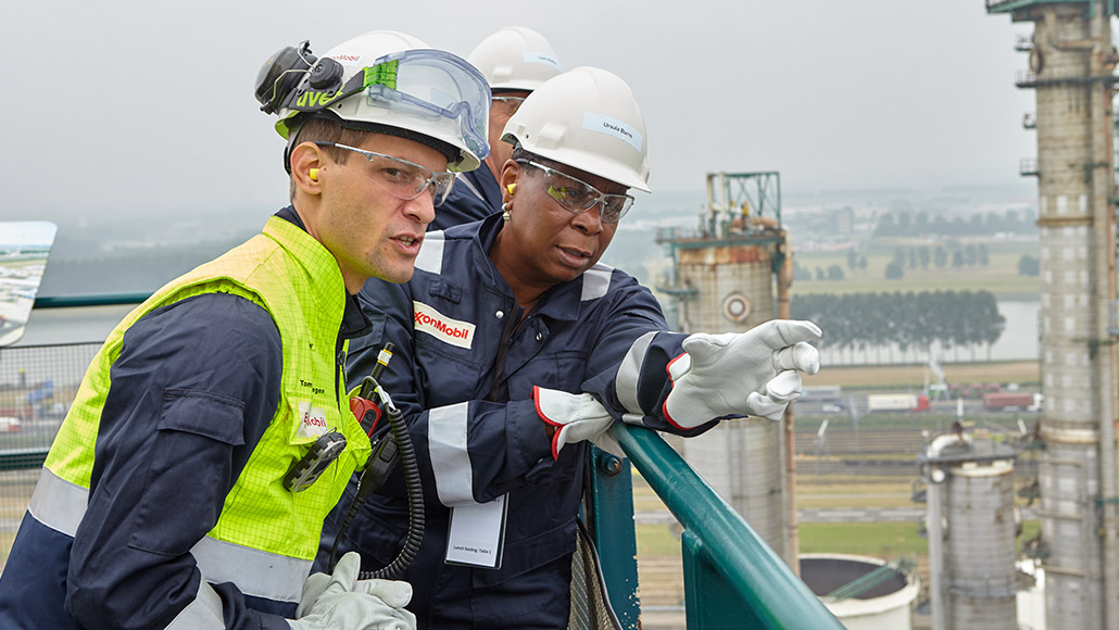 Board of Directors member in safety gear on refinery tour