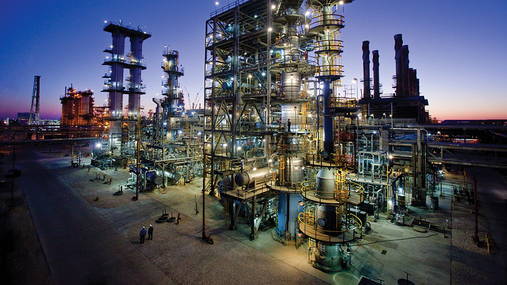 ExxonMobil Baytown facility at night.