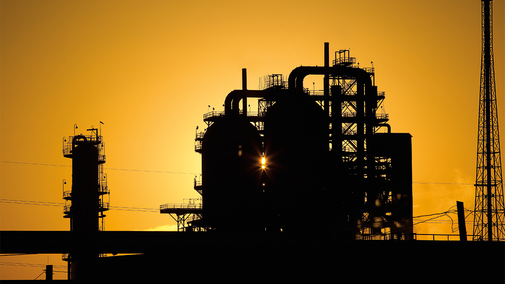 ExxonMobil chemicals facility at sunrise.