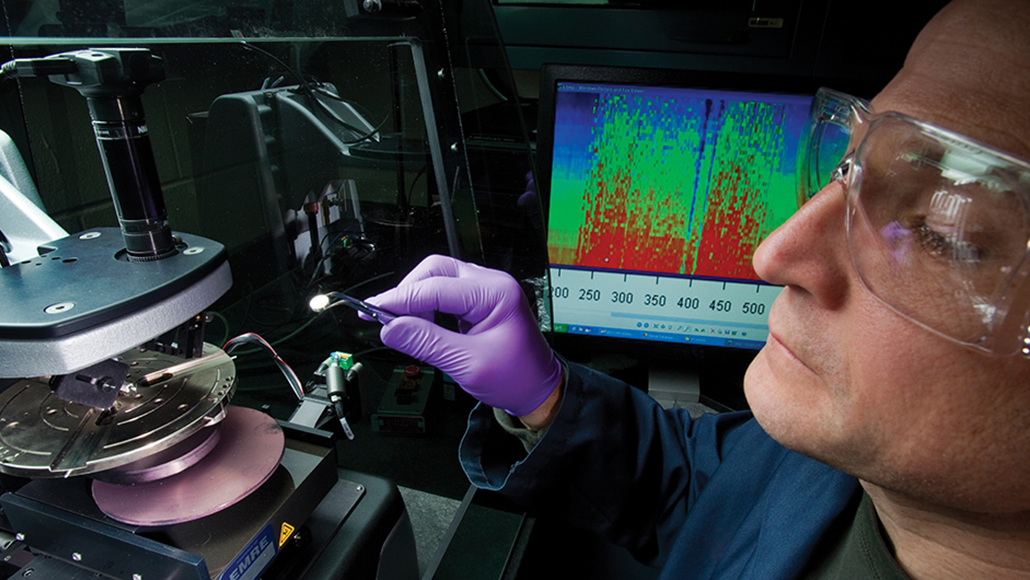 An ExxonMobil employee using a profilometer