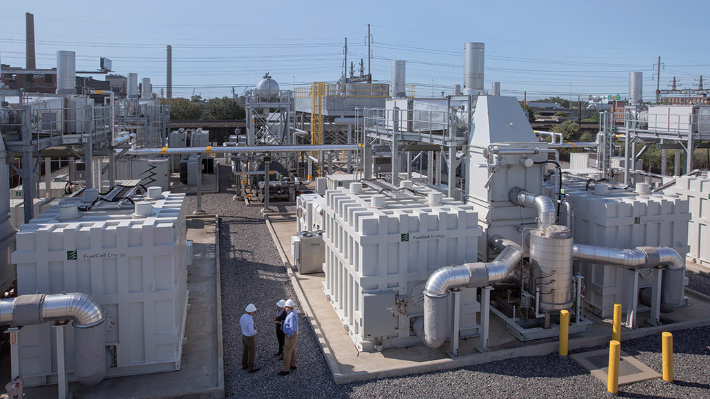 Carbonate fuel cells at a power plant