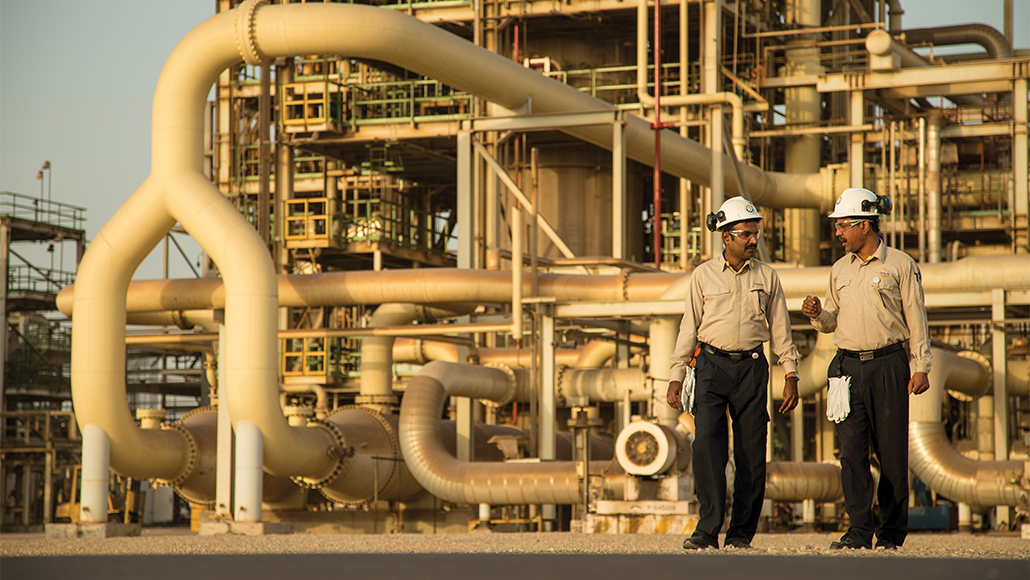 two workers at Al-Jubail Petrochemical Company
