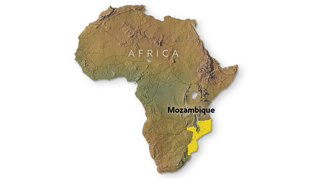 Map of Africa highlighting Mozambique.