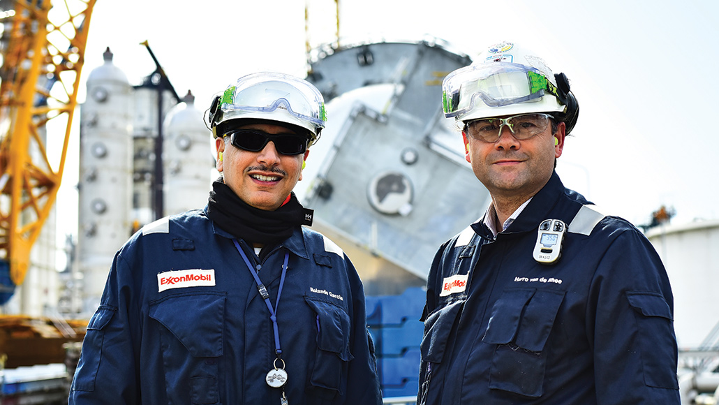 ExxonMobil workers Harro van de Rhee and Rolando Garcia at Rotterdamn facility.