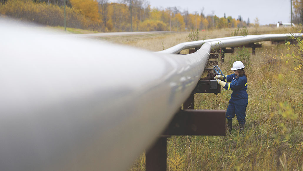An employee at the Cold Lake pipeline