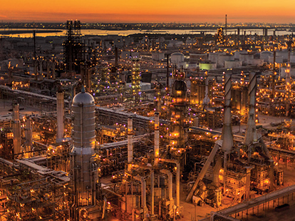 ExxonMobil's Baytown refinery at dusk